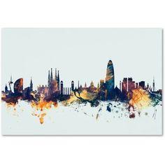 Trademark Fine Art Barcelona Spain Skyline Blue Canvas Art by Michael Tompsett, Size: 16 x 24, Multicolor