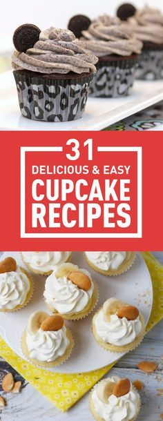31 Delicious & Easy Cupcake Recipes Who doesn't love cupcakes? They're delicious and so easy to make. Plus, it doesn't take much time to bake them. All you need now is some delicious cupcake recipes. Well, here are 31 of the best of them. Baking Recipes Cupcakes, Cupcake Recipes From Scratch, Easy Cupcake Recipes, Yummy Cupcakes, Frosting Recipes, Dessert Recipes, Easy Recipes, Icing Recipe, Cupcake Torte