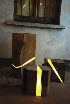 Lamps Made from Sawmill Waste and Tree Branches Embedded with Resin and LEDs…
