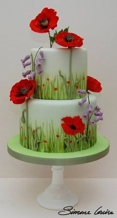 Poppies & Bluebells Cake by Simone Louise