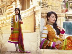 Surbhi Jyoti Yellow Cotton Printed & Handwork Unstitched Salwar Kameez - 21707 really cool skirt colors:)