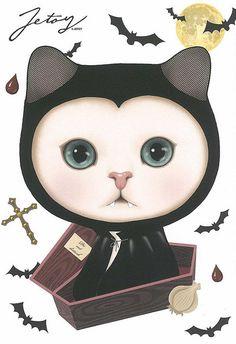 Jetoy Choo choo cat postcard - Night 4 by PCmarja2006, via Flickr
