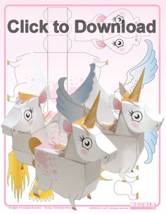 Unicorn Paper Toy from Free Unicorn Printables via Mandy's Party Printables Unicorn Printables, Party Printables, Easy Diy Crafts, Crafts For Kids, Diy With Kids, Unicorn Invitations, Unicorn Crafts, Diy Papier, Printable Paper