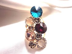 NEW EXQUISITE WOMEN'S 14K GOLD PLATED 5 QUALITY GEMSTONES & CRYSTAL RING SIZE 8 #Unbranded #Cocktail