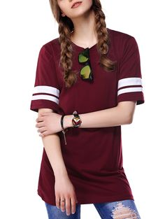 Trendy Round Neck Color Block T-Shirt For Women