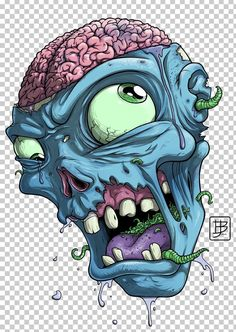 ZombieHead by BrunoJunges - graffiti - Chalk Art Zombie Kunst, Arte Zombie, Zombie Art, Zombie Drawings, Cartoon Drawings, Art Drawings, Arte Dope, Dope Art, Zombie Cartoon