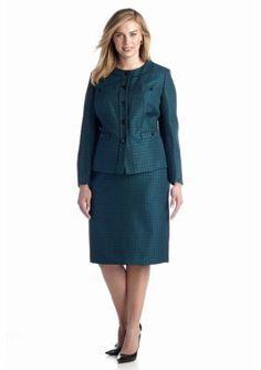 John Meyer  Plus Size Metallic Tweed Skirt Suit