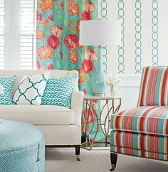 this floral or stripe for banquette pillows?