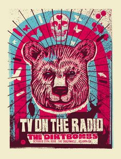TV on the Radio Concert Poster Oct 2008 at the Tabernacle- Atlanta, Ga. 18 inches x 24 inches 3 color silkscreen print on nice heavy paper hand signed & numbered edition of 160 artist: Robert Lee see more great TV on the Radio concert posters below: Rock Posters, Band Posters, Concert Posters, Gig Poster, Music Posters, Music Artwork, Art Music, Graphic Design Posters, Graphic Design Illustration
