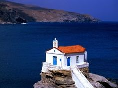 Amazing World originally shared this post: Thalassini Church Cyclades Islands, Greece Great View More photos from Amazing World Andros Greece, Greece Wallpaper, Greece Tours, Old Churches, Beaches In The World, Place Of Worship, Beautiful Architecture, Macedonia, Walking