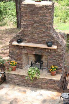 Tumbled Belgard Celtik Wall Freestanding Block And Cap Outdoor Fireplace With A Mortar Set
