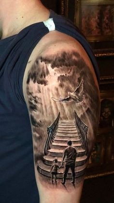 Stair to heaven tattoo by Stefan. Limited Availability at newtestamenttattoo stu… Stair to heaven tattoo by Stefan. Limited Availability at newtestamenttattoo studio Sky Tattoos, Daddy Tattoos, Father Tattoos, Forearm Tattoos, Sternum Tattoo, Half Sleeve Tattoos For Guys, Best Sleeve Tattoos, Tattoo Sleeve Designs, Stairway To Heaven Tattoo
