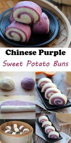 Delicious and beautiful Chinese steamed buns with purple sweet potatoes. Sweet Potato Buns, Sweet Potato Recipes, Purple Potato Recipes, Purple Sweet Potatoes, Steamed Buns, Steamed Dumplings, Steamed Cake, Asian Desserts, Chinese Desserts