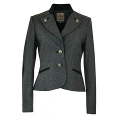 Blazer El Picaflor Deer Hunting grau (1.485 BRL) ❤ liked on Polyvore featuring outerwear, jackets, blazers and blazer jacket
