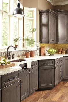 Gray kitchen cabinets: dynasty cabinets, loring door style, smoky hills finish on cherry cabinets