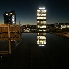 Morgenstemning på The Hub. Her pågår vanntesting av tak. The Hub, Oslo, Instagram
