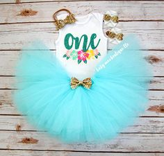 Aqua Luau First Birthday Party Outfit Girl Birthday Tutu Outfit Onesies® brand by Gerber® Carters Cake Smash Photo Prop Baby Maes original design