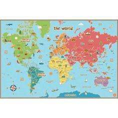 Kids World Dry Erase Map Decal - WallPops for Kids Wall Art