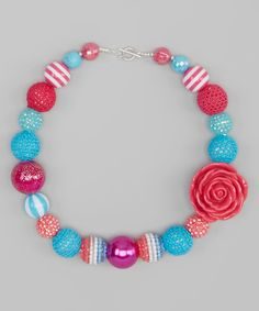 Look at this Turquoise & Pink Bead Necklace on #zulily today!