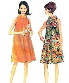 1960s Dress Pattern McCalls 8826 Sleeveless Mod Funnel Neck Tent Dress Junior Teen Vintage Sewing Pattern Bust 31