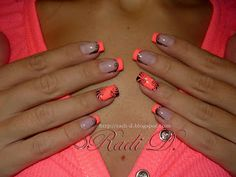 Neony from RadiD - Nail Art Gallery nailartgallery. - Neony from RadiD – Nail Art Gallery again this year nailartgallery.na … from N … – Funky Fr - Camo Nails, Coral Nails, Plaid Nails, Neon Nails, Orange Nail Designs, French Tip Nail Designs, French Tip Nails, Cool Nail Designs, Nail Art Noel