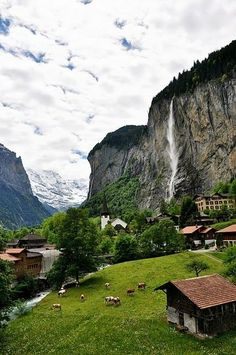 Staubbach Falls, Lauterbrunnen, Switzerland. I wanna live here!