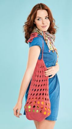 Retro shopping bag - free knitting pattern by Kelly Menzies!