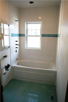 Bathroom, Inspiring Picture Of Small Bathroom Remodels With Bathroom Design Ideas And White Bathtub With White Wall Tiles Also Sliding Glass Windows Plus Mirror And Old Green Floor: How to Build Small Bathroom Remodels