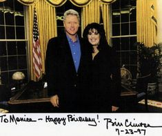 Bill Clinton met Monica Lewinsky at a White House function in 1997, and continued to pose together even after starting their White House affair. They are pictured together - Lewinsky wearing her infamous blue dress - following a radio address in February 1997