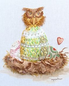 Easter subject in silk ribbon embroidery by Tatiana Popova. The watercolor is by Inga Paltser.