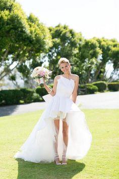 High low waterfall hem wedding dress: http://www.stylemepretty.com/2015/11/11/whitney-ports-wedding-dress/