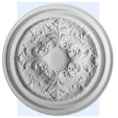 Davie ceiling medallion has exquisite acanthus leaf motif. This decorative medallion for ceiling is classic reproduction of historical design. Davie medallion molded in deep relief design to achieve the highest degree of quality and details. Modern Ceiling Medallions, Plaster Ceiling Rose, Accent Ceiling, Baroque, Orac Decor, Art Deco Door, Ceiling Decor, Ceiling Fans, House Ceiling Design