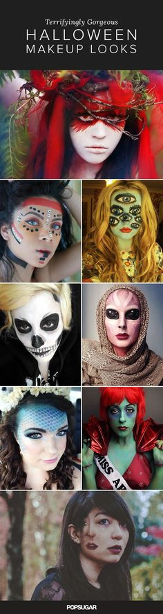 Some of these real-girl makeup creations have us cringing in terror (especially the demented clown), and it's all done with eye shadows, body paint, false lashes, and incredible talent. This is the creepiest makeup artistry we've ever seen, but it's definitely great inspiration for our costume this year.
