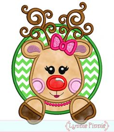 Girly Reindeer in a Circle Frame Applique 4x4 5x7 6x10 christmas