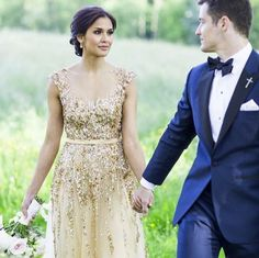 Modern Gatsby-Inspired French Wedding + Sparkly Gold Dress, Trendy Gatsby-Impressed French Wedding ceremony + Sparkly Gold Gown Beautiful + glamorous sparkly gold wedding ceremony gown: www. Blue Tuxedo Wedding, Navy Blue And Gold Wedding, Gold Wedding Gowns, Gold Wedding Colors, Bridal Gowns, Glamorous Wedding, Sparkle Wedding, Wedding Dress With Gold, Metallic Wedding Dresses