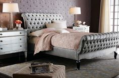Old Hollywood glamour bedroom. Platinum velvet sleigh bed, from Haute House. Absolutely love this bed style Glamourous Bedroom, Tufted Bed, Bedroom Design, Haute House, Old Hollywood Bedroom, Glam Bedroom, Bedroom Decor, Home Decor, Home Furnishings