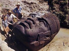 Olmec stone head in La Venta, Mexico 1947