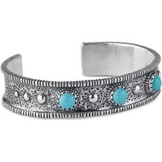 American West 925 Sterling Jennifer Nettles Blue Turquoise Cuff The American West brings you this textured cuff bracelet. Taken from Jennifer Nettles collection this cuff features three round cabochons of turquoise in blue color sit in the center of this cuff bezel set with a serrated edge. Polished beads of 925 sterling silver stick out from the cuff surrounded by textured inset sterling silver and a ribbed sterling border. This classic look complements just about any wardrobe for any…