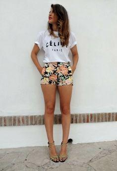 Celine  Camisetas, Zara  Pantalones cortos and Zara  Tacones / Plataformas