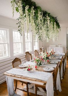 Wedding Trends White Wisteria Hanging - White and Long Silk 3 Separate pieces can be linked together to form garland Perfect for hanging arrangements and installations Wedding Table Centerpieces, Wedding Flower Arrangements, Wedding Bouquets, Wedding Flowers, Wisteria Wedding, Hanging Flower Arrangements, Centerpiece Ideas, Hanging Centerpiece, Flower Garland Wedding
