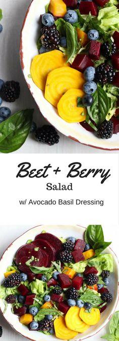 The freshest seasonal ingredients create a beet salad with berries and an avocado basil vinaigrette. Vegan, gluten free, paleo, Whole30. |abraskitchen.com