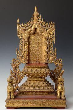 19th Century, Miniature Burmese Wooden Buddha's Throne