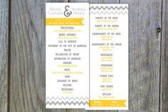 Chevron Ombre Wedding Program by PugFacePrints on Etsy