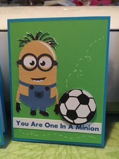 Cricut Chirp: Minion soccer cards.  (Pin#1: Children: Boys.  Pin+: Punch Art: Children; Sports).
