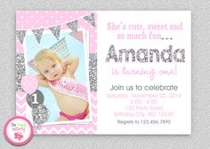 Pink Silver Chevron 1st Birthday Invitation  by The Trendy Butterfly