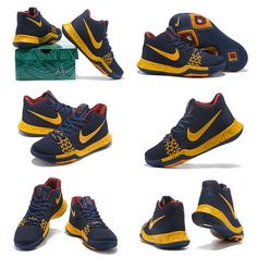 pretty nice 944d5 2098c Nike Really Cheap Kyrie 3 III Flyknit Navy Blue Metallic Gold