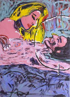"""""""Amanti"""", 70x50 cm, tela - Collezione Vittoria Vincenzi - Dal catalogo della mostra di Mari Guglielmo"""
