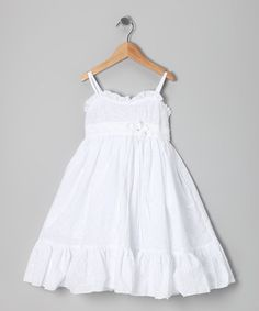 White Eyelet Ruffle Dress - Girls  Kid Infants and Mom