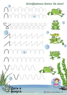 Crafts,Actvities and Worksheets for Preschool,Toddler and Kindergarten.Lots of worksheets and coloring pages. Preschool Writing, Preschool Worksheets, Preschool Learning, Preschool Activities, Teaching, Pre Writing, Writing Skills, Frog Theme, Home Schooling