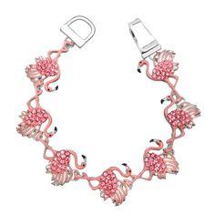 Pink Flamingo Rhinestone Enamel Magnetic Closure Silver Tone Bracelet